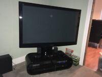 "Panasonic Plasma 50"" TV and black gloss unit"