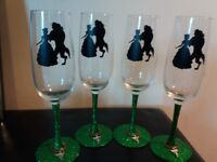 Beauty and the beast champagne flutes