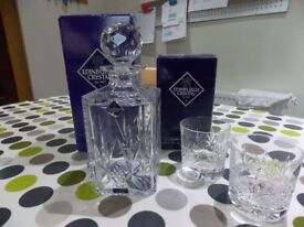 Edninbugh Crystal decanter and 2 matching glasses - boxed never used.