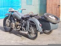 1965 URAL K750 SIDE CAR OUTFIT DNEPR COSSACK M72 BASSED ON THE BMW R71 R75 DELIVERY AVAILABLE