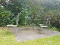Round Cast Iron Glass Table with 4 chairs