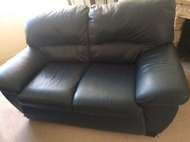 3 seater and 2 seater blue leather sofa