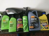 Car valeting kit products with engine oil and anti freeze