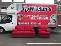 2&1 seater sofa in a red fabric £150 new new condition(we have a puffee with this that opens)
