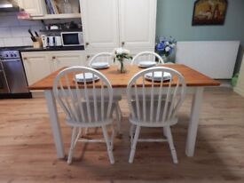 SHABBY CHIC PINE FARMHOUSE DINING TABLE & 4 CHAIRS