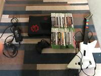 Xbox 360 elite + 29 games, guitar hero controller and wired controller
