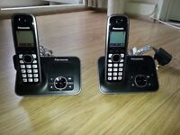 Panasonic KX-TG6621EB 2X Single Digital Cordless Phone with Answer Machine - Black