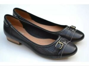 New��CLARKS ACTIVE AIR��UK 3 E HENDERSON FUN Black LEATHER BALLERINA PUMPS Shoes