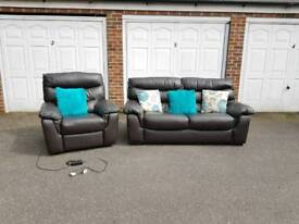 DFS Italian Leather Sofa with Electric Reclining Arm Chair