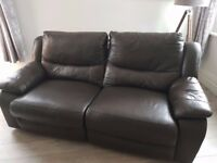Two three seater reclining brown leather sofas - Excellent condition - Cost £3000+ new