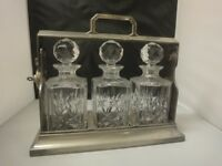 Vintage 1940 all steel Three Crystal Glass Decantor TANTALUS with key in superb condition