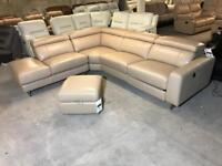 BRAND NEW FABB SOFAS ICONICA IMPACT L SHAPE CORNER SOFA CARAMEL BROWN REAL LEATHER RECLINER HEADREST