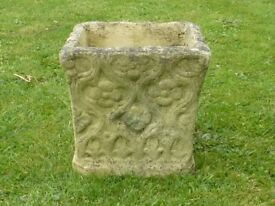 Stylish Square Cast Stone Garden Planter with Tudor Pattern Detailing 24cm tall