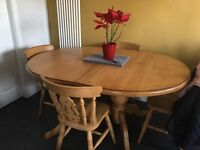 Solid Pine dining table and 6 Chairs, includes 2 carvers