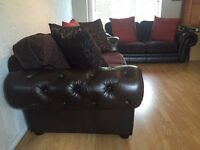 Leather Fabric Chesterfield,Tetrad style set Sofas 3 seater and 2 seater DELIVERY