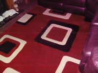 Rug - Red, Black and Cream - Excellent Condition