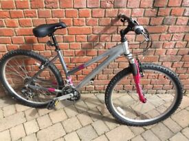 Ladies Raleigh Freeride mountain bicycle, silver, shimano 21 gears, good condition.