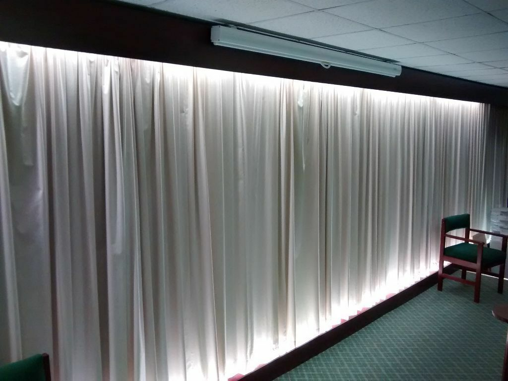 Pair Of Long Back Drop Pale Curtains Business Office