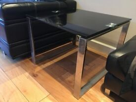 2 Black Glass and Chrome Corner Tables from DFS