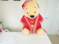 """A Genuine Large 20""""Inch Disney Plush Of Winnie The Pooh In Dressing Gown And Nightcap"""