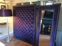 Purple plush velvet bed headboard, mirror and tall lamp - £325 ovno