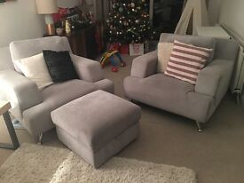 Two grey armchairs sofa and storage footstool pouffe sofaworks