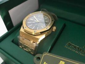 New Swiss Audemars Piguet Royal Oak Golden Case See Through Back Automatic Watch