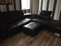 Black Leather Corner Sofa