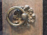Large old early Victorian oak door box plus dead lock complete with brass door handle .