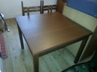 Dining Table and 4 chairs, Extendable