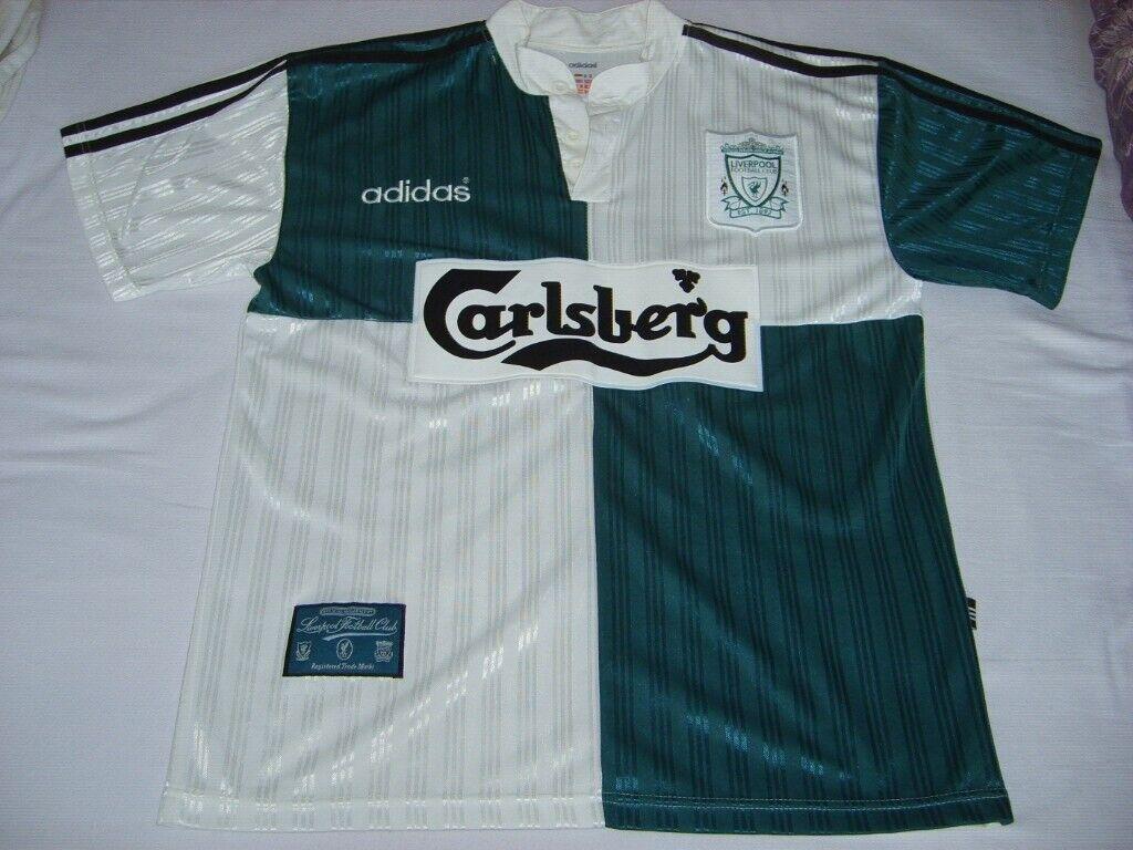 a27201006 Vintage Retro Liverpool Football Club LFC 95 96 season away jersey shirt
