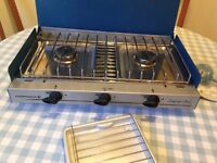 Camping Chef by Campingaz, table top stove, 2 burners and grill with grill pan