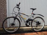 Boss Ransom mountain bike, dual suspension, disc brakes.