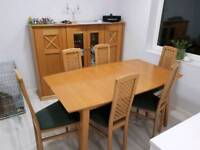 Excellent Dining Table, 6 Chairs and Sideboard