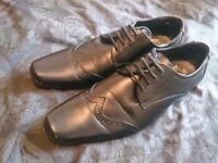 Mens size 9 suit shoes by Next, black with pattern