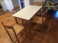 Retro white formica table and basket seat chairs