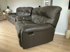 Leather settees reclining in brown