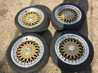 "lenso bsx bbs rs rep alloy wheels gold 15"" 4x100 with tyres honda civic ek4 vti ej9 eg"