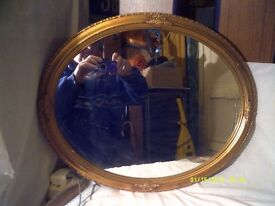 AN OVAL & a RECTANGULAR GOLD FRAMED MIRROR , BOTH in EXCELLENT CONDITION £ 35 EACH ++++