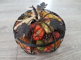 Rustic metal basket with vegetables, home decor