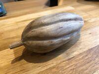 Carved Wooden Cocoa Pod - Decorative Ornament