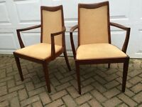 Gplan Beautifully Curved Wooden Dining Arm Chairs for £40 a pair