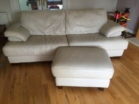 Selling Three Seated Sofa and one Seated Chair White Leather with Footstool