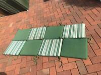 8 Garden chair seat cushions Green striped, piped with ties