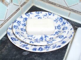 Laura Ashley Blue and White Flowered Soap dish set