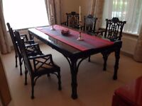 Macintosh-Chinese-style hand-crafted dining table with glass top, and six chairs.