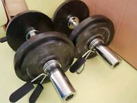 Olympic Dumbbell bars and 30kg weights