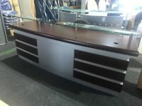 NEW solid walnut reception desk - reduced due to slight marks on front-glass top and drawers at rear