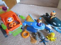 Selection of octonaut toys including gup T, gup R and gup O