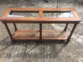 Wood wicker cane glass side table
